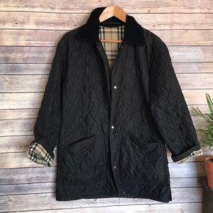Burberry black check quilted unisex jacket coat